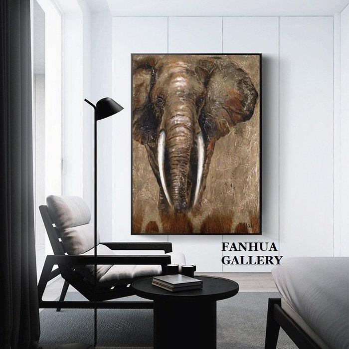 C - R - A - Z - Y - T - O - W - N 大象動物裝飾畫工作室牆畫商空復古大象掛畫餐酒館壁畫