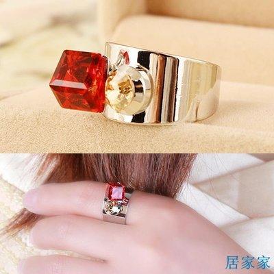 居家家 簡潔四方水晶開口戒指 韓國時尚個性裝飾水鉆指環女可調節大小