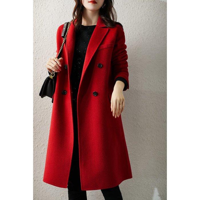 高質感定染胭脂紅 手工雙面雙排扣羊毛呢外套/大衣 2204