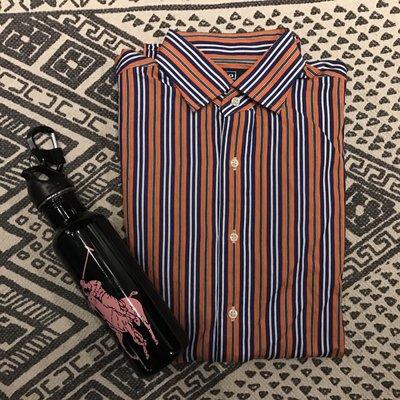 [JL Outfitters] Polo by ralph Lauren 橘色條紋襯衫M號 15.5吋 正常版