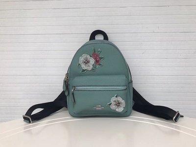 品牌折扣館 美國正品代購 COACH 28953 時尚刺繡花朵真皮mini小背包 女士輕便外出包 雙肩包 附購買證明