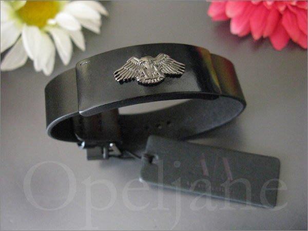 美國真品 A|X Armani Exchange AX 亞曼尼阿曼尼老鷹金屬商標黑色真皮手鍊 手環 可調整長度 免運費