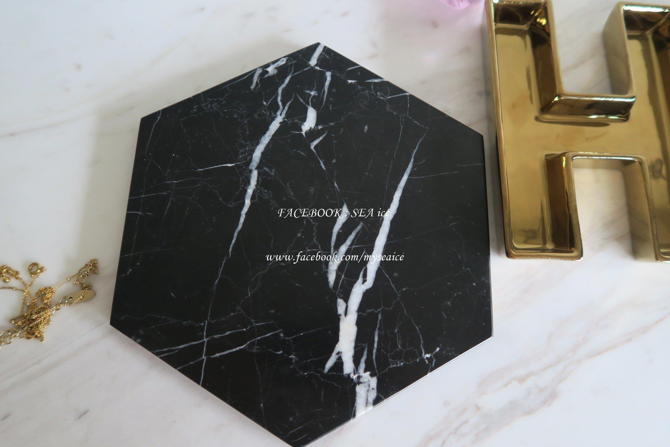 黑白根黑色閃電大理石一抹居家的質感*歐美風 法式歐洲優雅櫥窗擺飾*ins大推*杯墊飾品盤 小裝飾盤  六角形大20cm