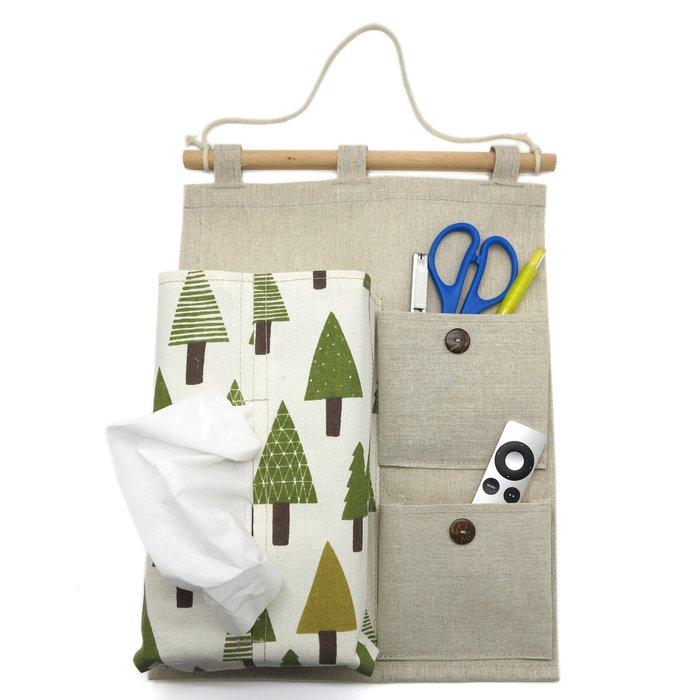 「CP好物」北歐風(森林款)手感吊掛壁掛式棉麻布收納袋抽取式面紙盒衛生紙盒