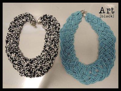 art black A246 精緻串珠歐美系海灘款項鍊 頸鍊  黑白色    雜誌 VIVI