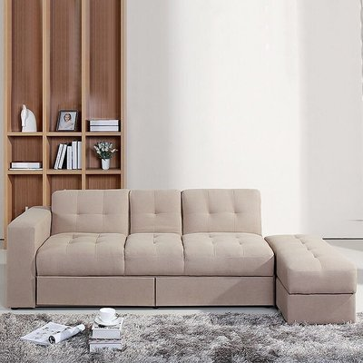 送貨布藝梳化沙發床sofa帶抽屜帶收納小戶型沙發床日式風格帶腳踏