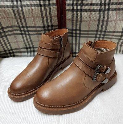 打蠟頭層真牛皮馬丁靴 短靴 咖啡淺棕色37號 版型偏大