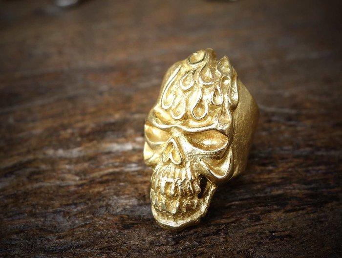 老約翰 皮雕 戒指 男戒指  純銅  黃銅色 #019  骷顱 粗曠  龐克 重機配件