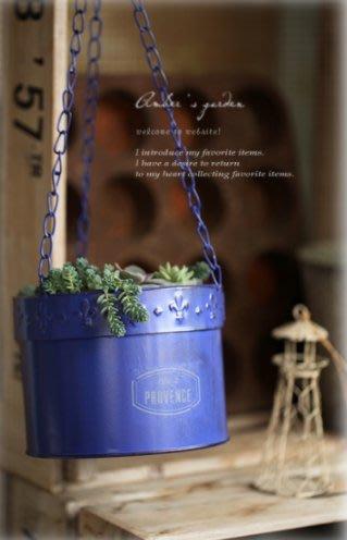 [ Atelier Smile ] 鄉村雜貨  日本直送 復古作舊 鐵皮吊掛花盆 花器 多肉 舊感 歐式 (限量)