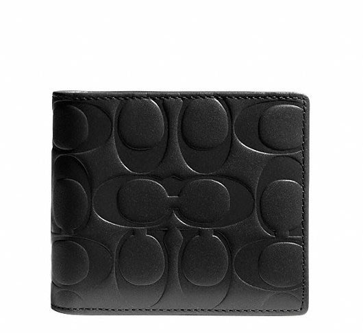 Coco小舖COACH 74686 Signature Embossed LTH Compact ID Wallet 黑