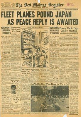 (徐宗懋圖文館) 二戰1945年8月13日 美國報紙《The Des Moines Register》原件