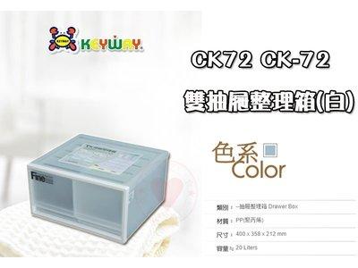 ☆愛收納☆ 2入 雙抽屜整理箱 ~CK-72~ KEYWAY 聯府 收納箱 整理箱 置物箱 CK72