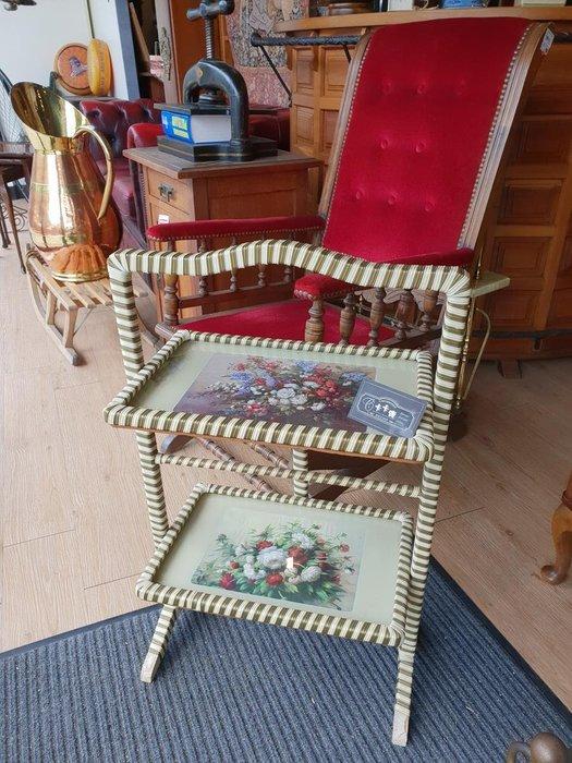【卡卡頌 歐洲跳蚤市場/歐洲古董】英國老件_古典花卉 可折疊 點心架 點心層架 屏風 雙層置物 展示架 sf0081✬