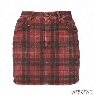 【WEEKEND】R13 Checked Denim 格紋 牛仔 裙子 短裙 紅色 18秋冬
