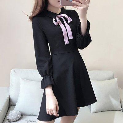 韓 氣質拼色蝴蝶結OL約會婚宴聚餐連衣裙小禮服洋裝