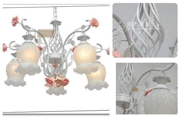 凱西美屋 英式鄉村美燈 浪漫鳥籠陶瓷玫瑰五燈 客廳燈 臥室燈 田園公主吊燈