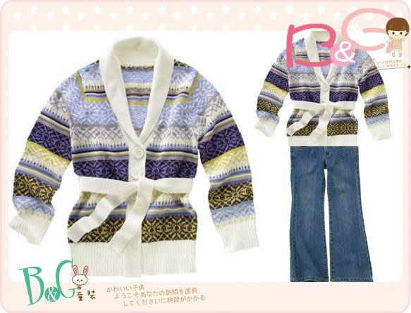 【B& G童裝】正品美國進口Crazy8腰繫帶粉紫色條紋毛衣外套M,L號6-8-10yrs