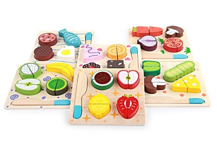 【好孩子福利社】木製果蔬切切看 拼版糕點切切看 木質過家家切切樂 拼圖拼板