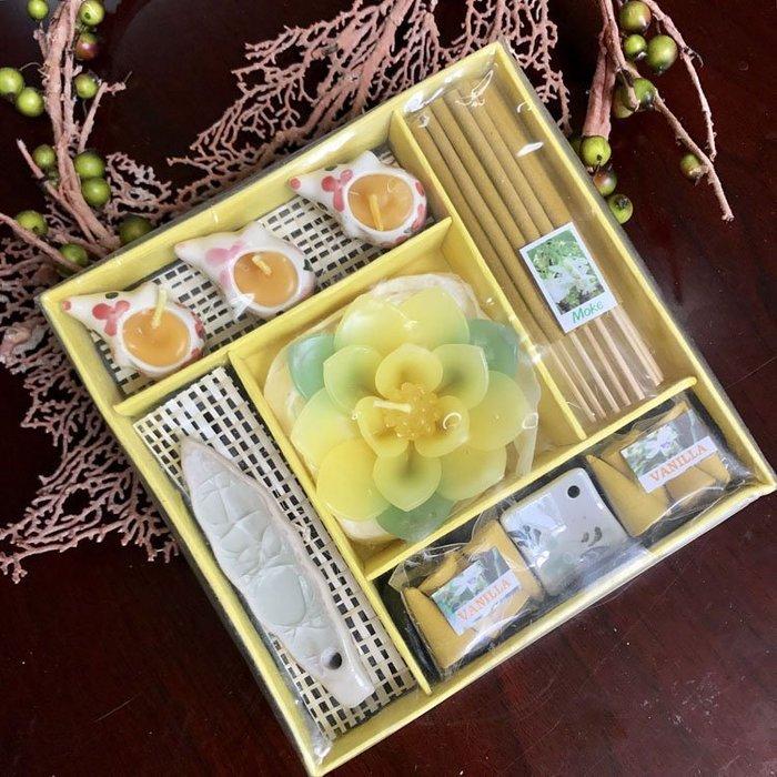 「還願佛牌」泰國 塔香 + 線香 + 花蠟燭 + 香盤 香薰 禮盒