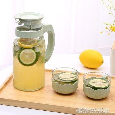 歐式玻璃冷水壺涼水壺1400ml大容量耐熱防爆晾水壺杯套裝