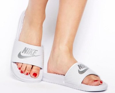 【鞋印良品】NIKE Benassi Swoosh JDI 男女款 343881102 全白 銀勾 鑽石 壓紋 運動拖鞋