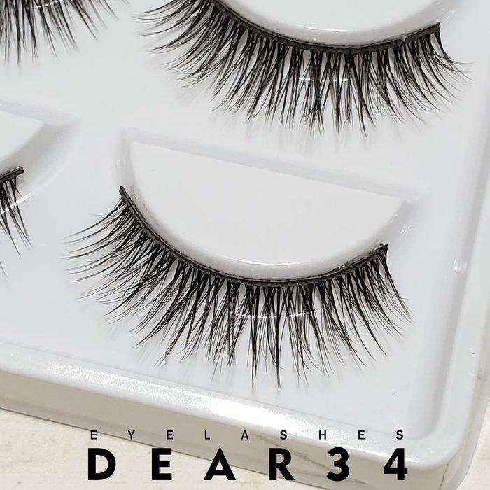 《Dear34》3D立體款水貂毛055黑梗眼中長自然交叉假睫毛上睫毛一盒五對價