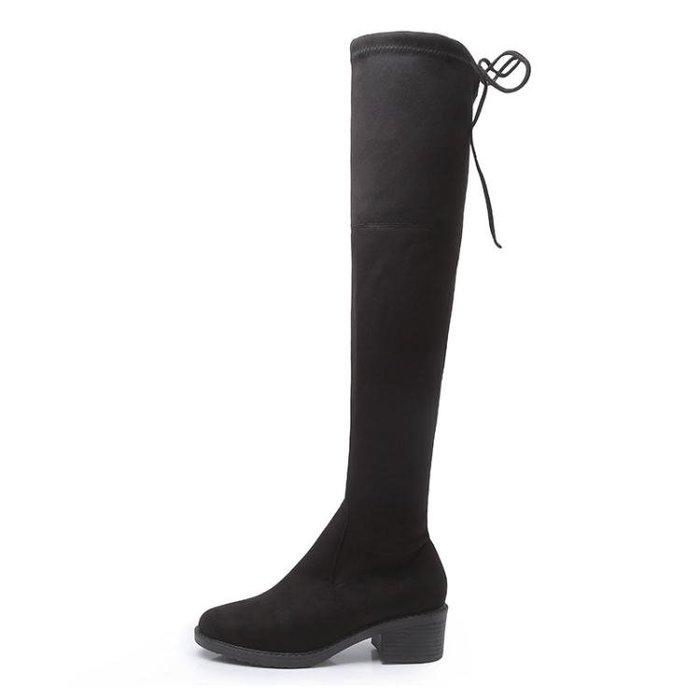 過膝長靴 膝上靴 歐美長靴彈力顯瘦過膝百搭粗跟秋冬新款中跟長筒女靴子長筒靴XSM2690