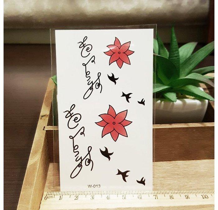 【萌古屋】英文紅花 - 男女防水紋身貼紙刺青貼紙K12
