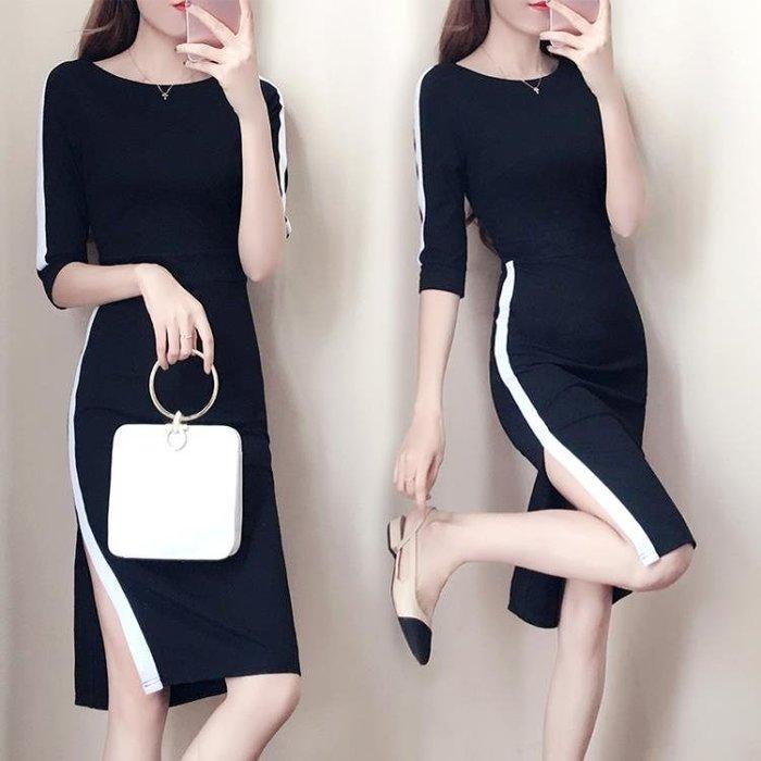 包臀洋裝秋裝新款職業女裝正韓修身顯瘦OL氣質中長款側開叉jy