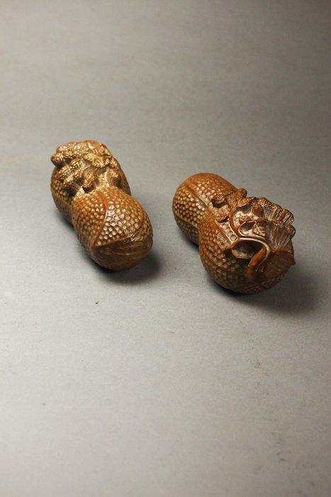 悅年堂 --- 黃楊木 雕 長命富貴 花生 擺件