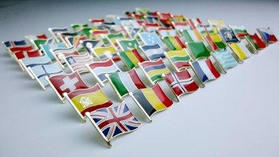 雙旗美國、日本、中國、德國、法國、英國、韓國、澳洲、泰國、越南,各3個。共30枚