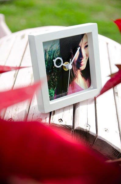 【衝浪小胖】圖案客製木框桌鐘/生日、母親、父親節、情人、七夕、聖誕送禮/手工製
