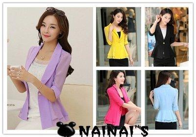 【NAINAIS】Fall‧S 0254 韓版 超修身雪紡拼接收腰下百荷葉7分袖西裝外套 6色S-XL預 台中市