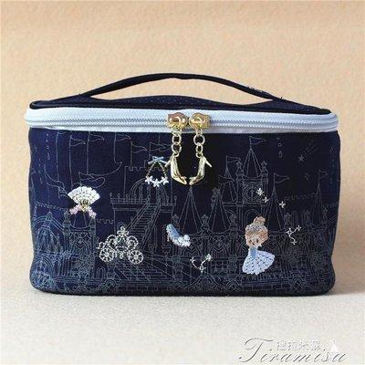 ZIHOPE 新品日本灰姑娘刺繡化妝包大容量便攜手提化妝品整理收納包桶包ZI812
