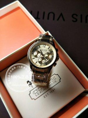 折扣款 全新專櫃正品 COACH 多功能六針 中性錶 38MM 金色 三眼女錶 大錶面 男錶 女錶