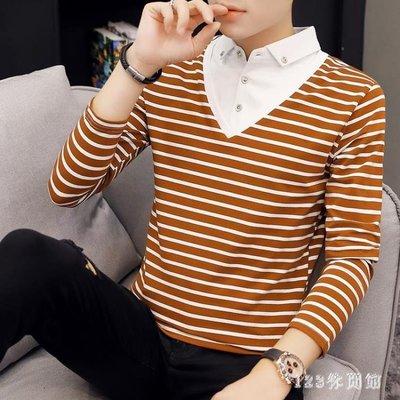 polo衫新款條紋假兩件襯衫領 翻領長袖t恤男士潮流帶領打底小衫 XN8705