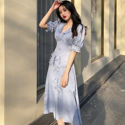 時尚女裙  夏季新款高腰純色娃娃領復古中長裙修身法式半袖a字連衣裙女