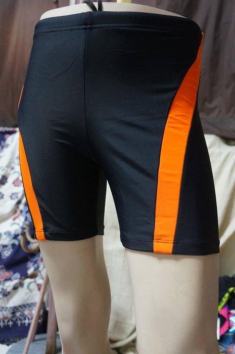 零碼M/EL特價390元-送泳帽-奧可那台灣製-萊卡男泳褲-簡約設計-靚黑亮橘邊-(原680元)