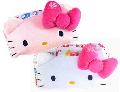 【卡漫迷】 Hello Kitty 面紙套 蝴蝶結 二款選一 ㊣版 面紙盒 家飾 絨毛 凱蒂貓 鬆緊帶 桌上型 45週年