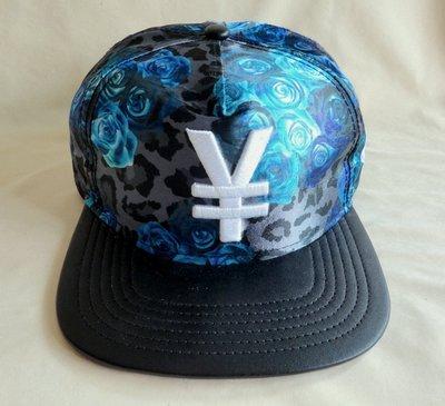 Arrogant日幣日元圖案潮帽平沿帽 棒球帽 藍色玫瑰