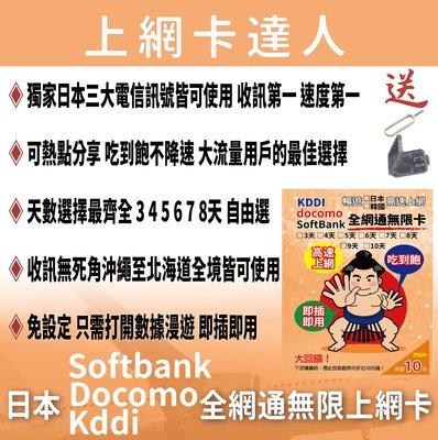 全網通無限卡 8天 不降速 吃到飽免設定 4G 2020/03/31前皆可使用 Docomo 日本 韓國 上網卡 網卡