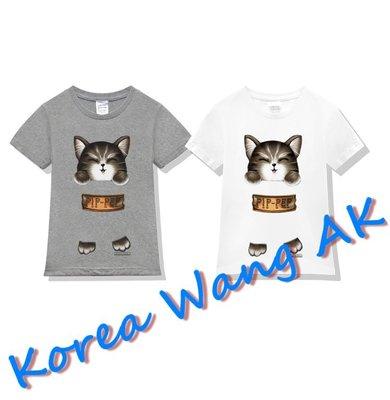 Korea Wang AK ~(預購)台灣原創獨家設計 美國純棉 限定版咖啡口袋喵兒童青少年版T 兩款【P121】