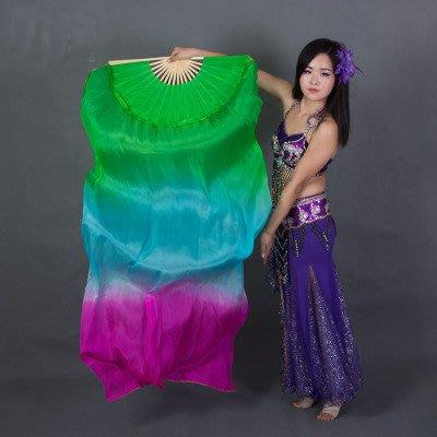 艾蜜莉舞蹈用品*肚皮舞真絲扇/綠藍玫漸層長飄扇150cm$350元