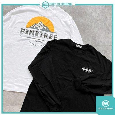 DOT聚點 Korea Pinetree Tee 黑 白 白 橘 山景 山脈 半圓 夕陽 薄長T 寬鬆版型 韓國公司貨