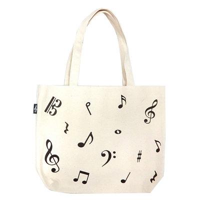 【華邑樂器98820-2】帆布手提袋-音符亂碼 (尺寸:30x39x10cm 樂譜袋T073)