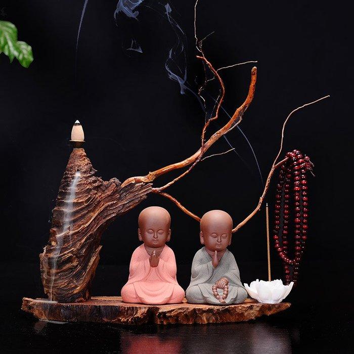 預售款-LKQJD-風化枯木家居倒流香爐小沙彌中式禪意小和尚辦公桌茶擺件創意茶玩