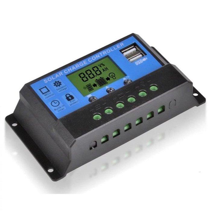 €太陽能百貨€ 太陽能控制器 10A USB 液晶顯示 可調光控加時控 發電系統控制器 JL-10A
