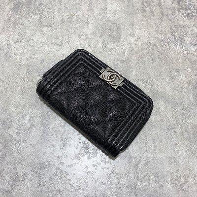 Chanel Boy 拉鍊零錢包 菱格紋 荔枝皮 復古銀釦 黑色《精品女王全新&二手》