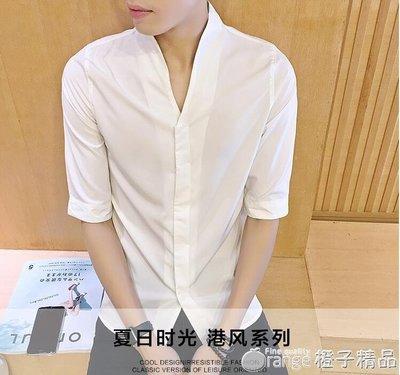 2019夏季韓版修身男士黑色五分袖襯衫男生時尚休閒百搭中袖襯衣潮