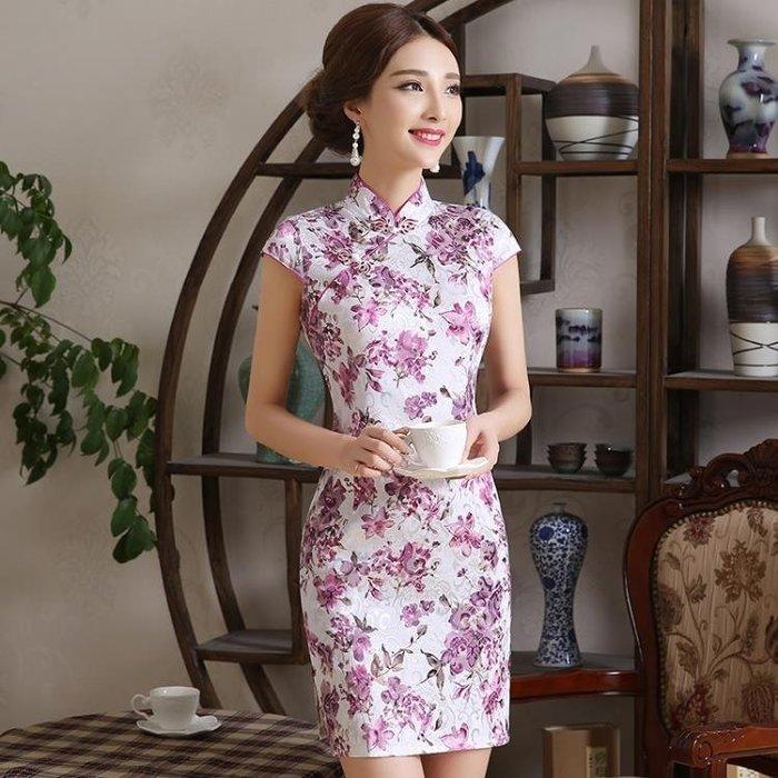 夏裝修身中式短袖復古改良短款旗袍洋裝女裝大碼